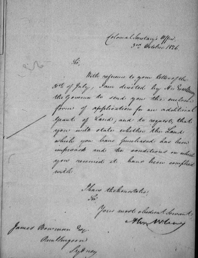 col sec Oct 3 1826 improvements