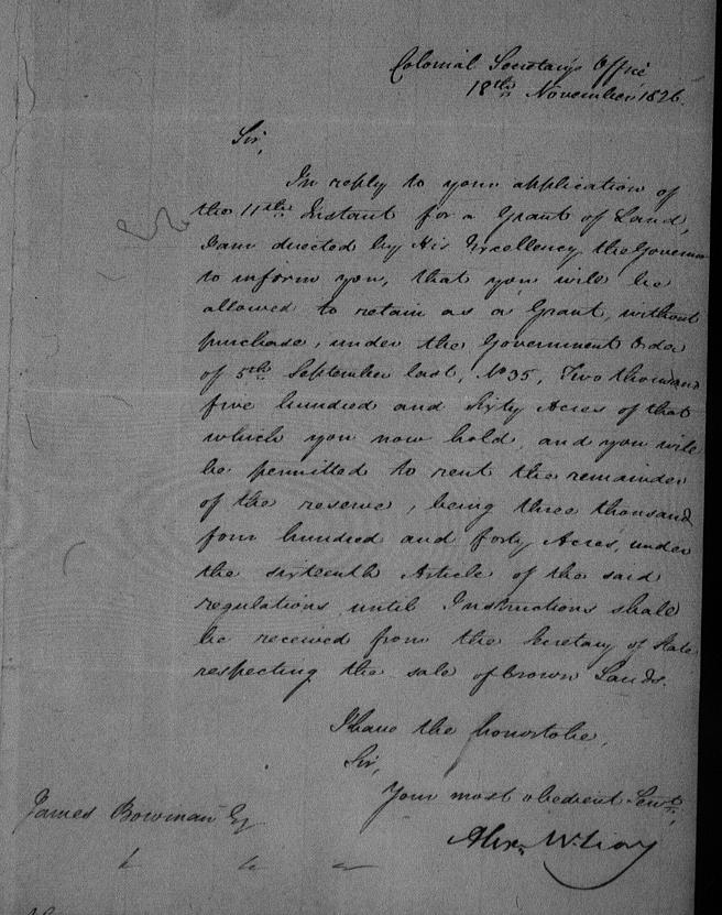 land grant 1826