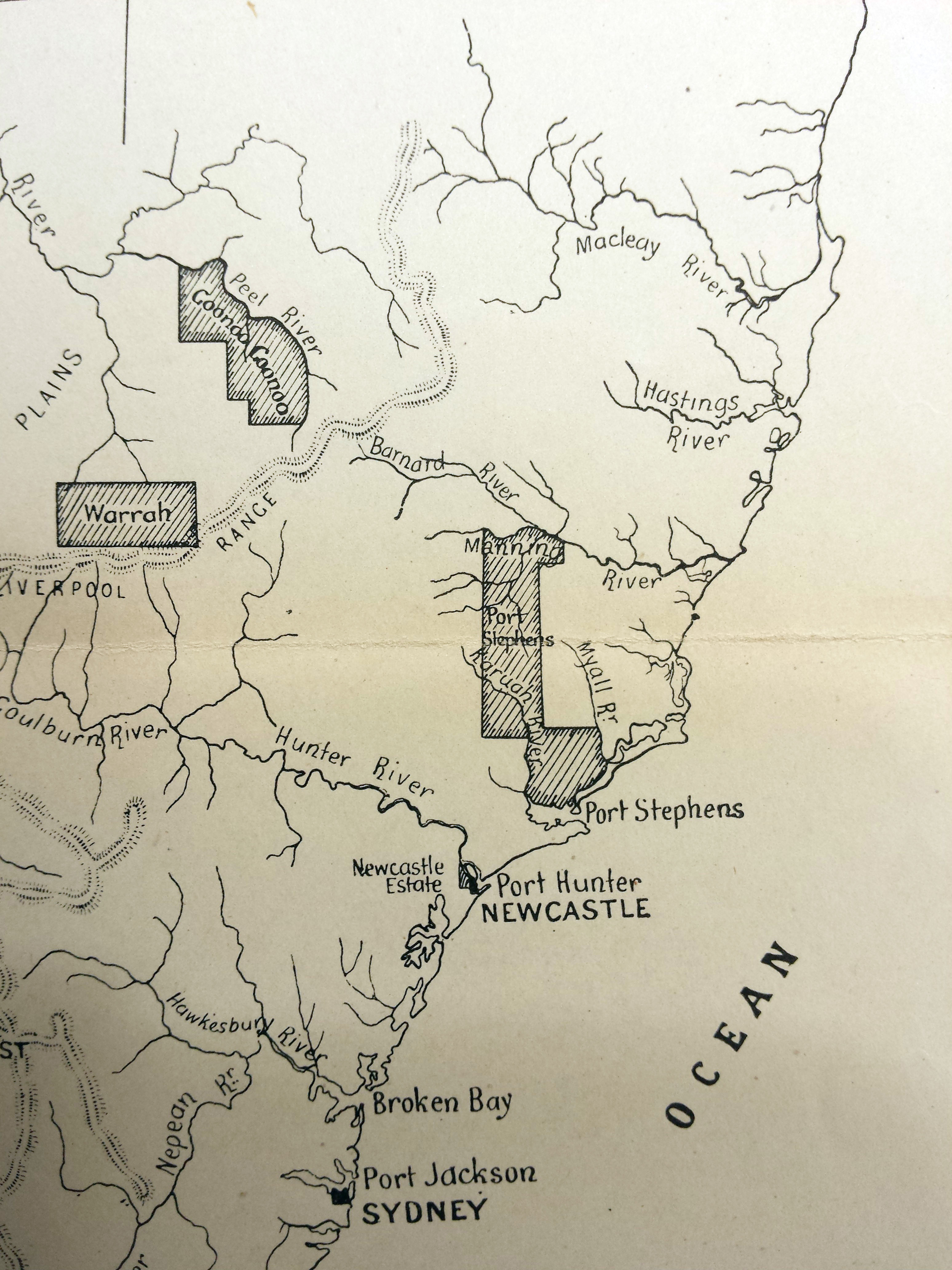 Map of Newcaslte & Port Stephens area. nd. [insert]