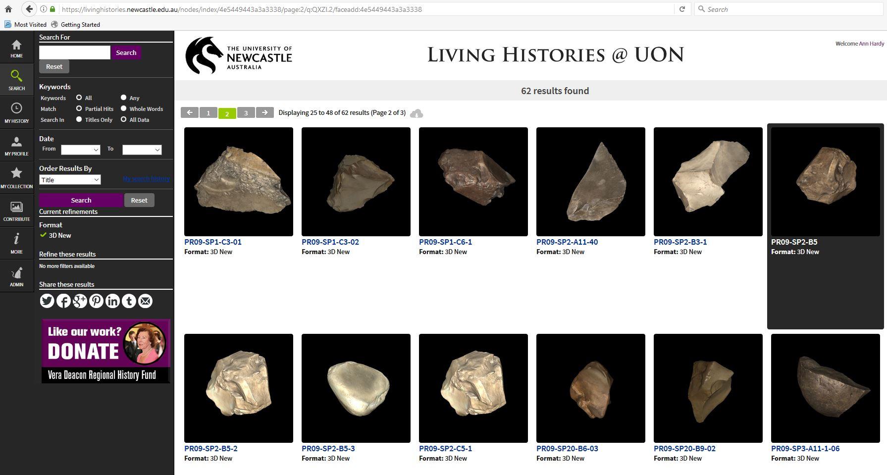 Recollect - 3D artefacts