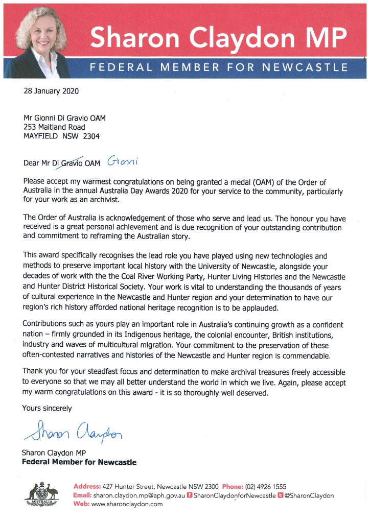 Letter from Sharon Clayden - GDG OAM