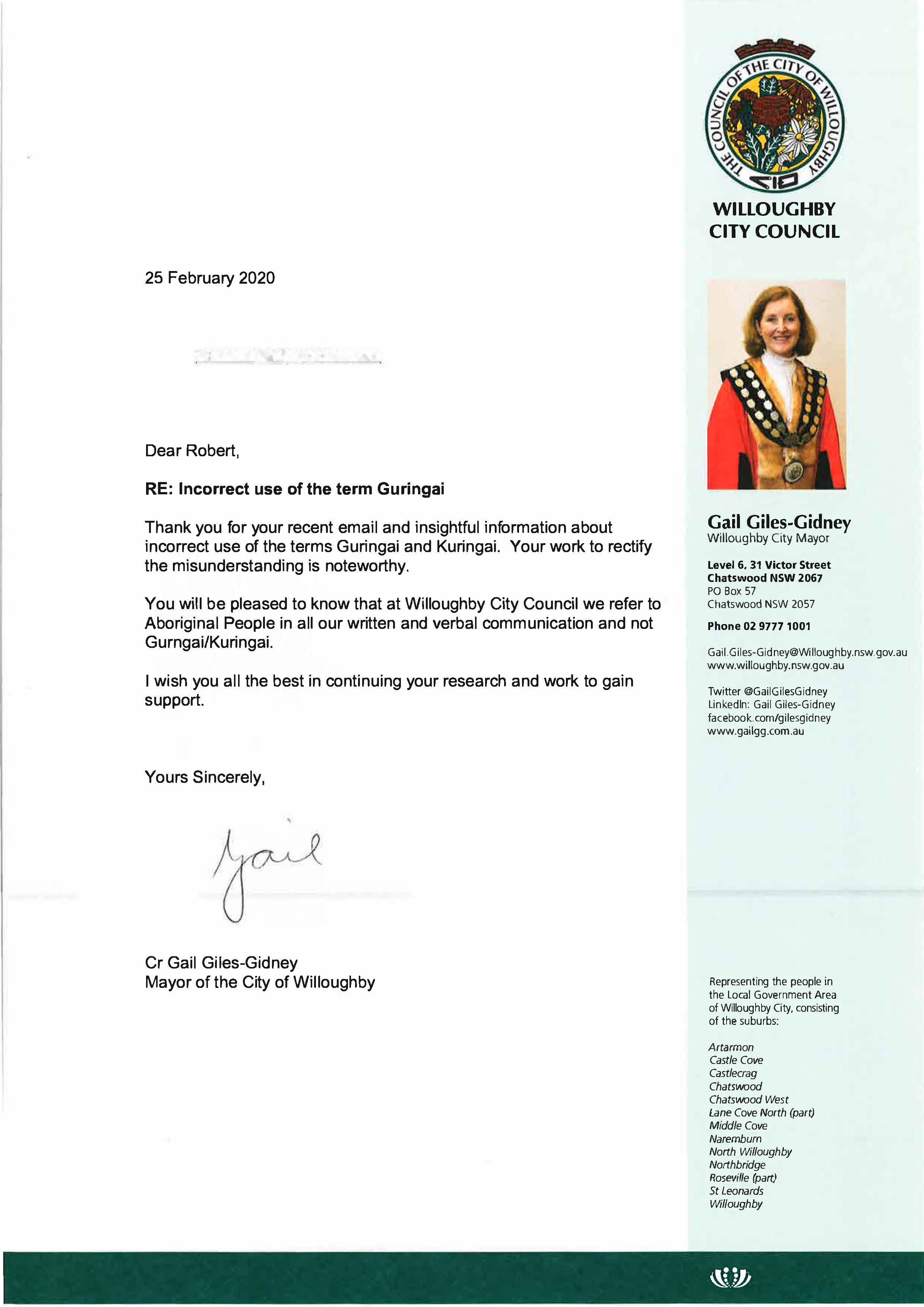 Letter to Robert Syron re Guringai People
