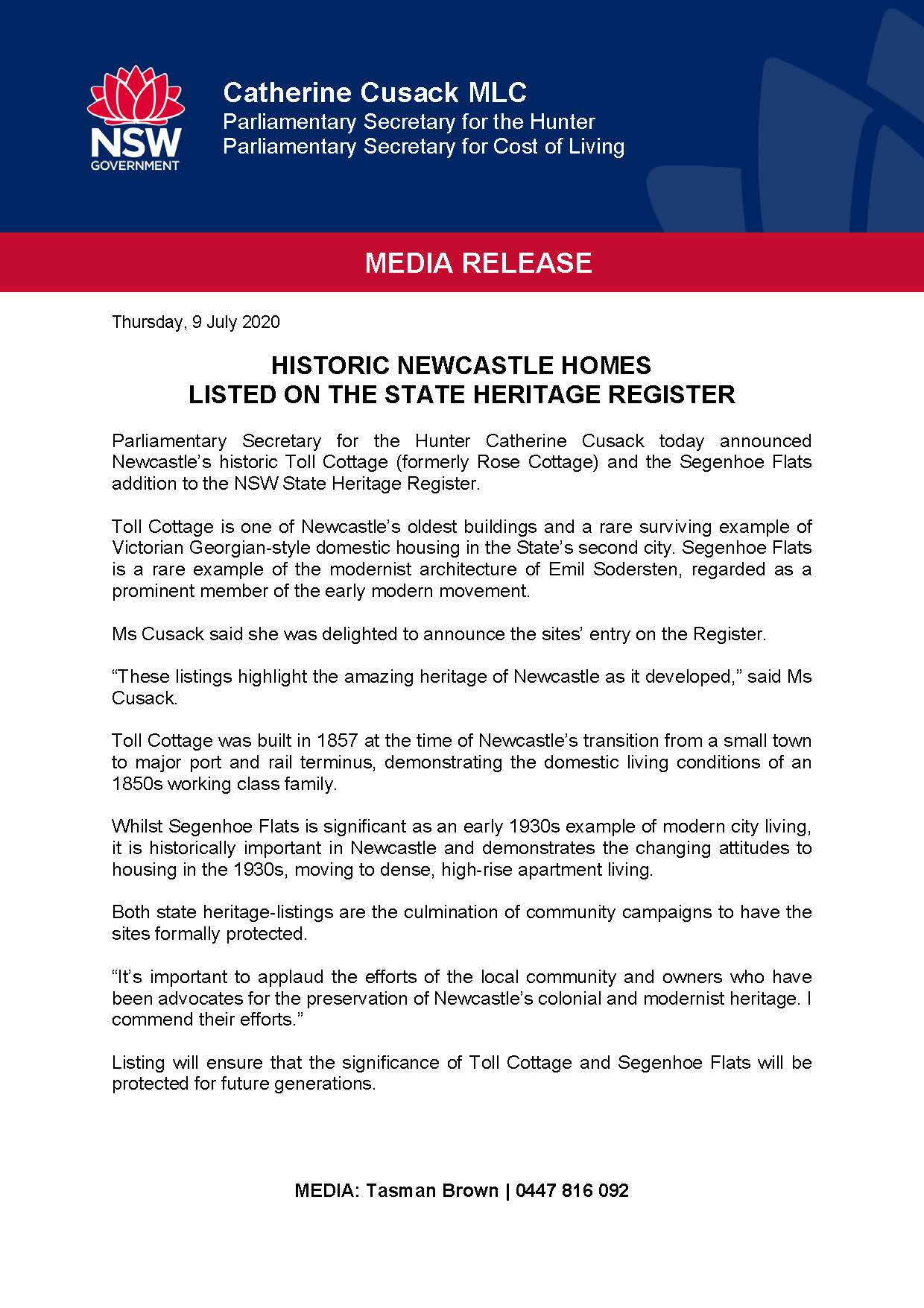 Catherine Cusack media release - HISTORIC NEWCASTLE HOMES LISTED ON THE STATE HERITAGE REGISTER