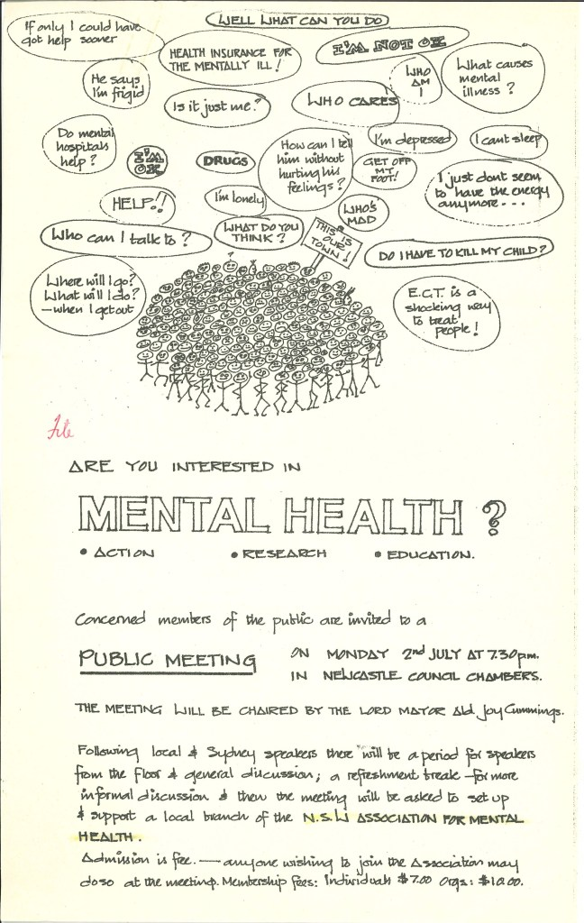 Poster from 1970s reads - Are you interested in mental health? action, research, education. Concerned members of the public are invited to a public meeting...