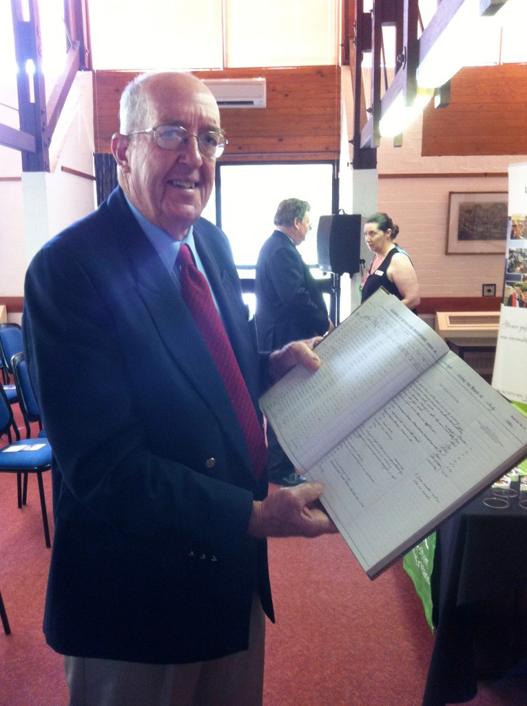 Image of Richard Belfield, holding a weather journal.
