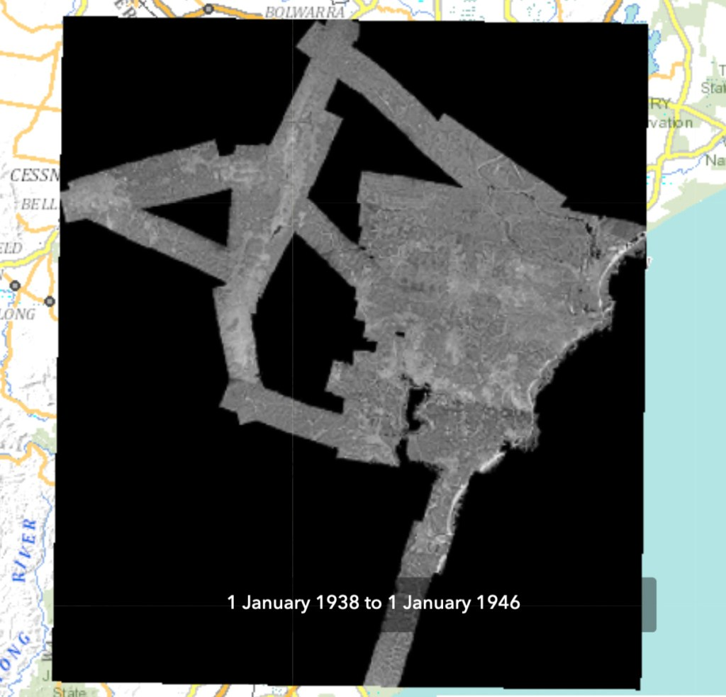 This image show the area of Newcastle in 1944 imagery covered