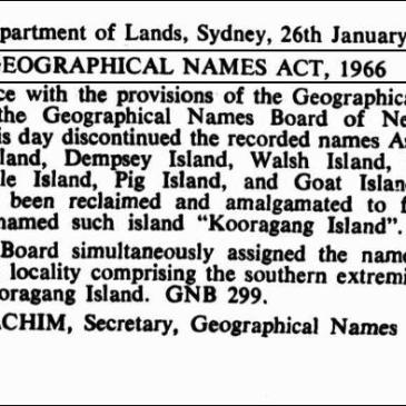 """Image from the NSW Government Gazette of the name """"Kooragang Island"""""""