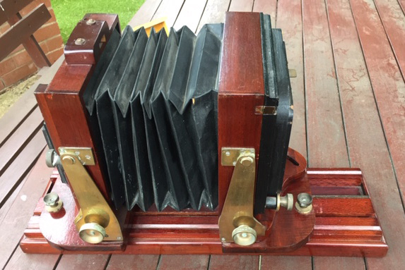 Side View of Red Cedar Camera Purported to have been made by Fred Barrie of Hamilton, N.S.W.