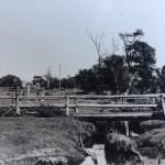 Unidentified rural scene with wooden bridge over creek
